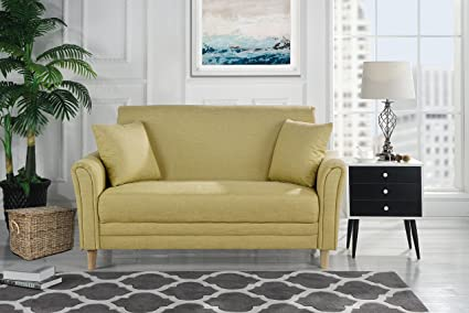 Divano Roma Modern 2 Tone Small Space Linen Fabric Loveseat (Yellow)