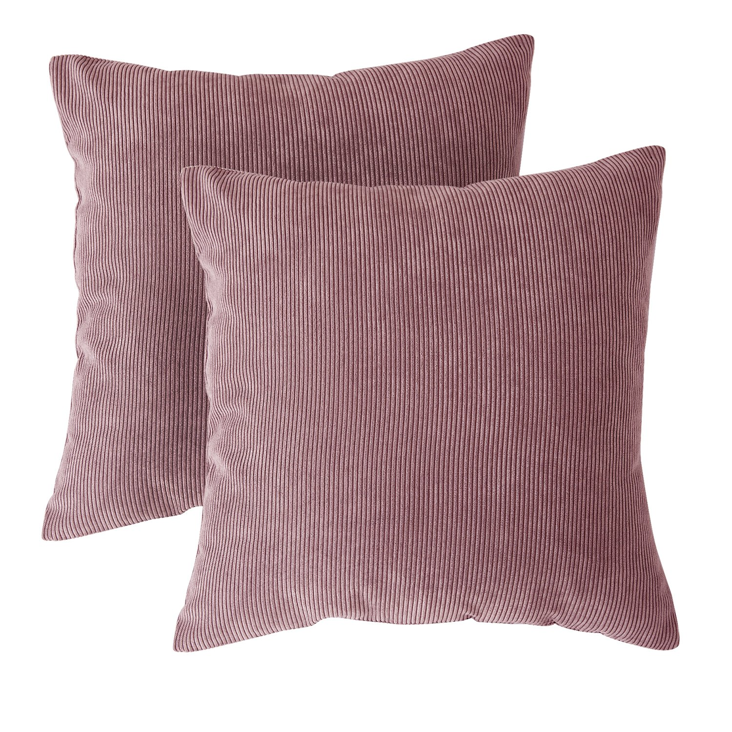 Deconovo Corduroy Throw Pillow Covers Plush Velvet Throw Pillow Cases with Invisible Zipper for Bed Lilas Pink Purple 2 Pieces 18x18 Inch (45x45 cm) No Pillow Insert