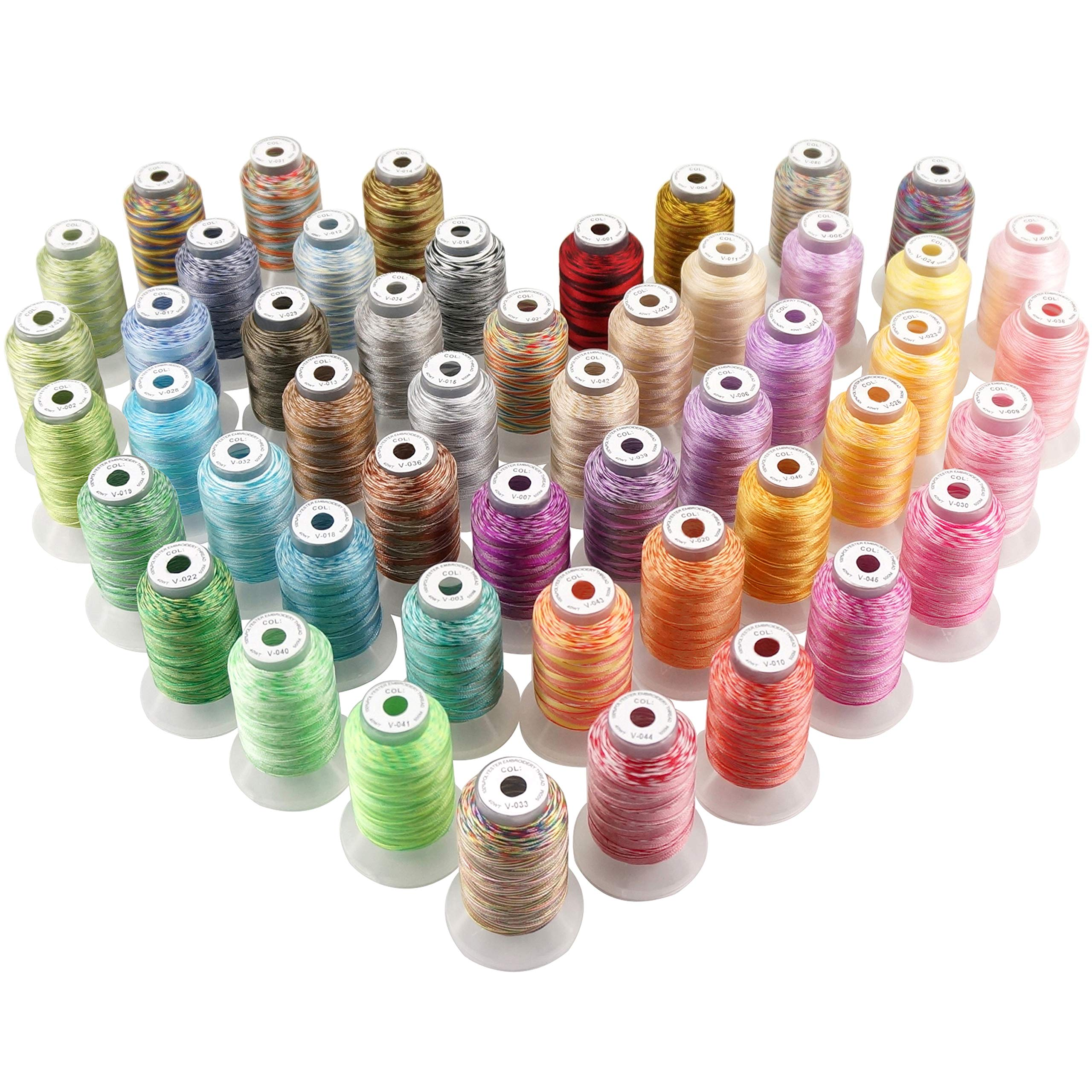 New brothread 50 Colors Variegated Polyester Embroidery Machine Thread Kit 500M (550Y) Each Spool for Brother Janome Babylock Singer Pfaff Bernina Husqvaran Embroidery and Sewing Machines by New brothread