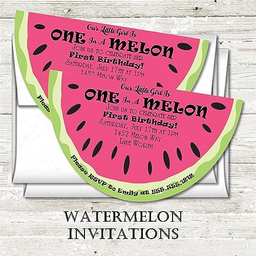 Watermelon Birthday Party Invitations