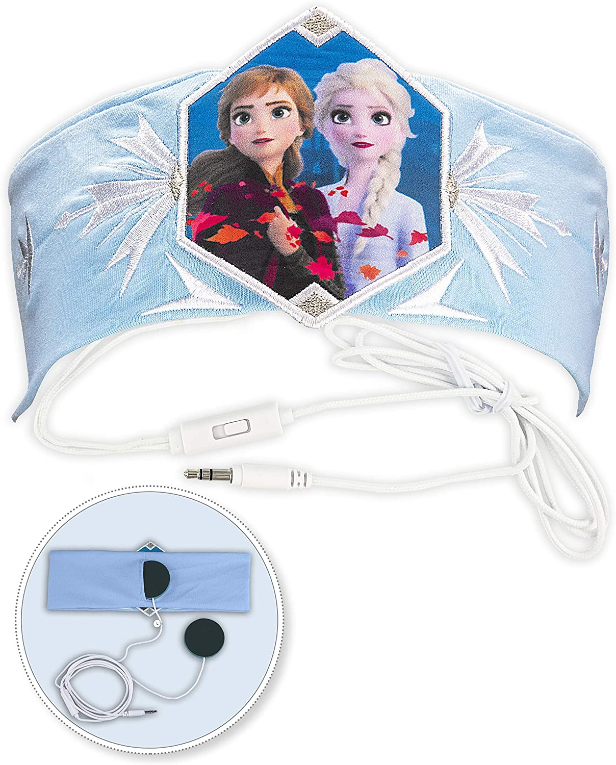 Frozen 2 Kids Headband Headphones Volume Limiting Switch Thin Speakers & Comfortable Soft Cotton Headband Perfect for Children's Earphones for School Home and Travel (Standard Packaging)