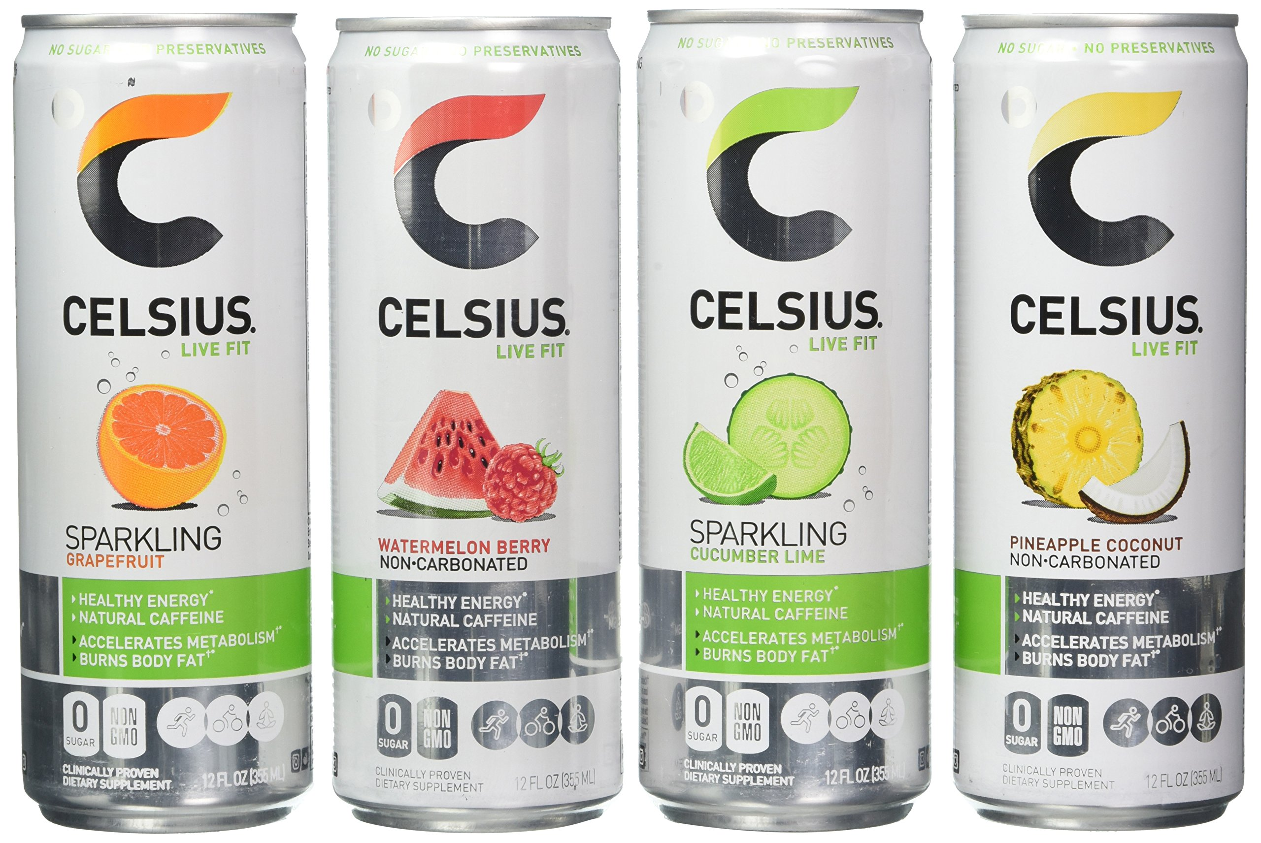 Celsius Live Fit Natural Fitness & Energy Drink 12/12oz Cans (Variety Pack)