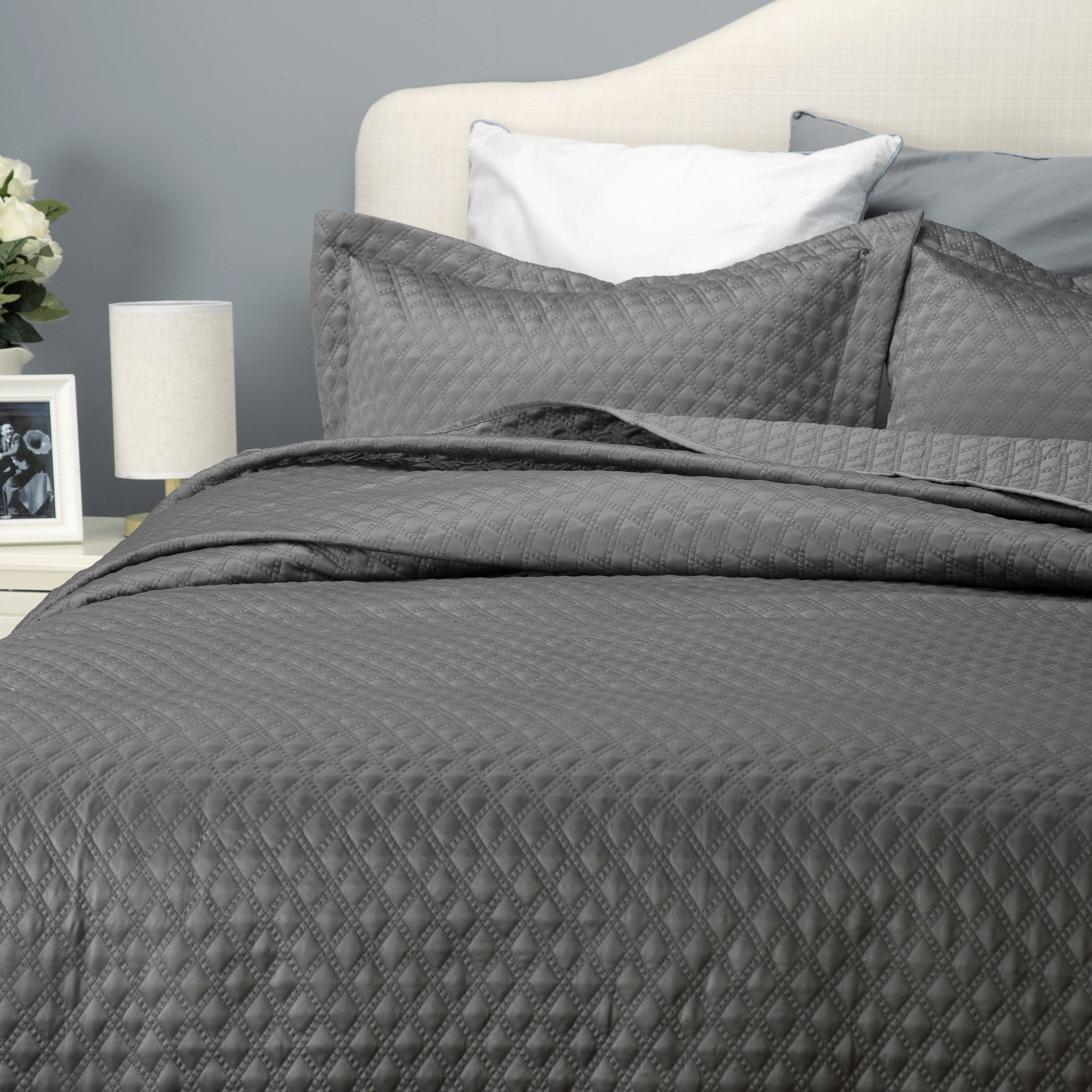 darkgray dark set coverlet ienjoy quilted damaskquilt product duvet damask cover gray home