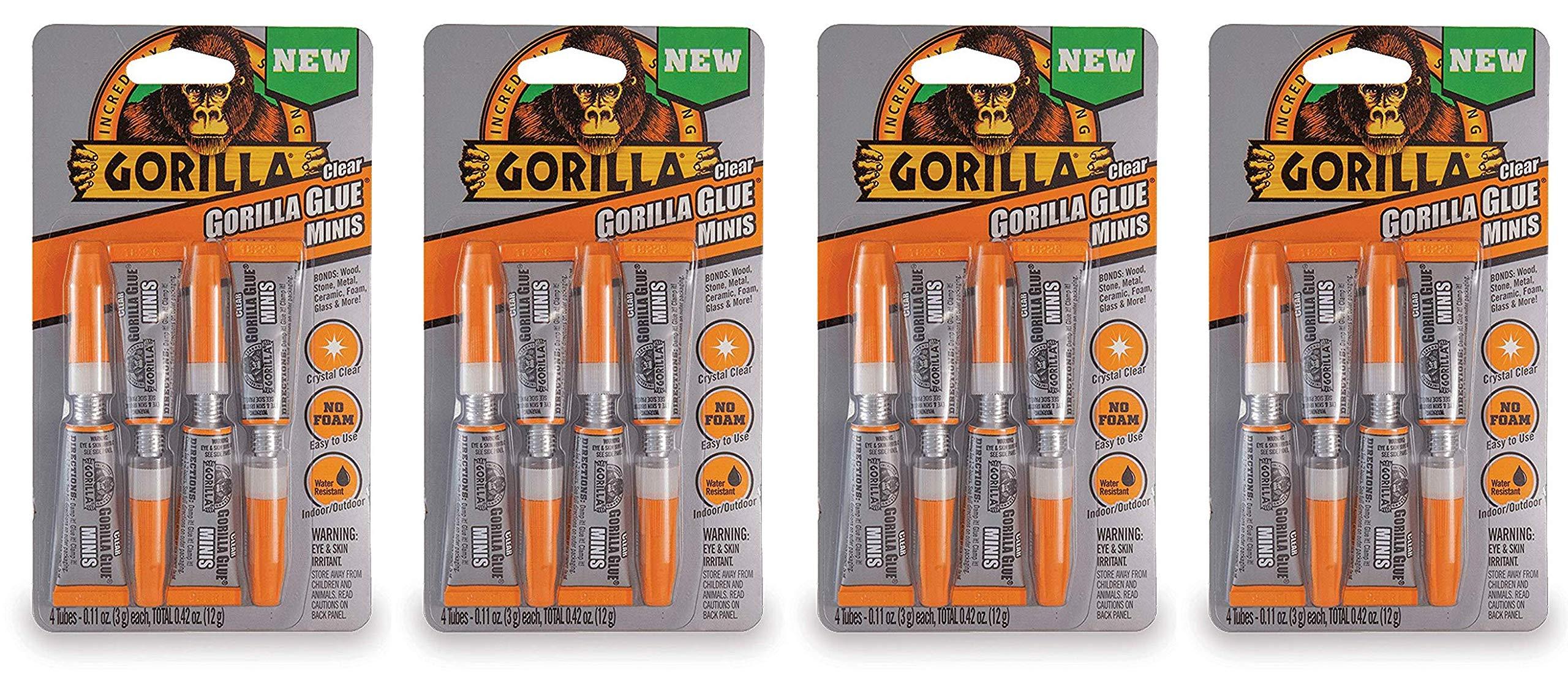 Gorilla Clear Glue Minis, Four 3 gram Tubes, Clear (Fоur Paсk)