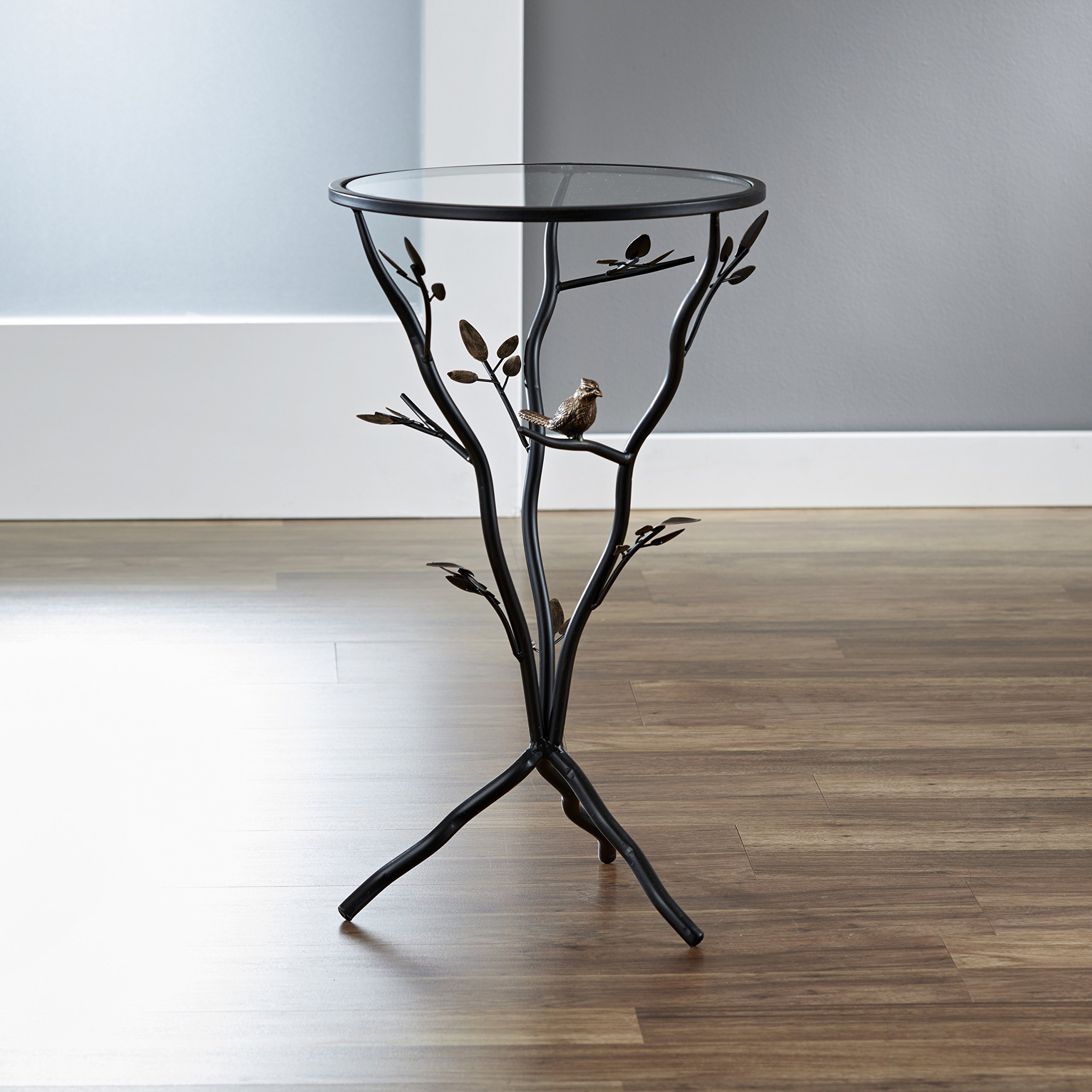 FirsTime & Co. Aged Bronze Bird and Branches Tripod Side Glass Tabletop Accent Table, 24'' H x 14'' W x 14'' D by FirsTime & Co.
