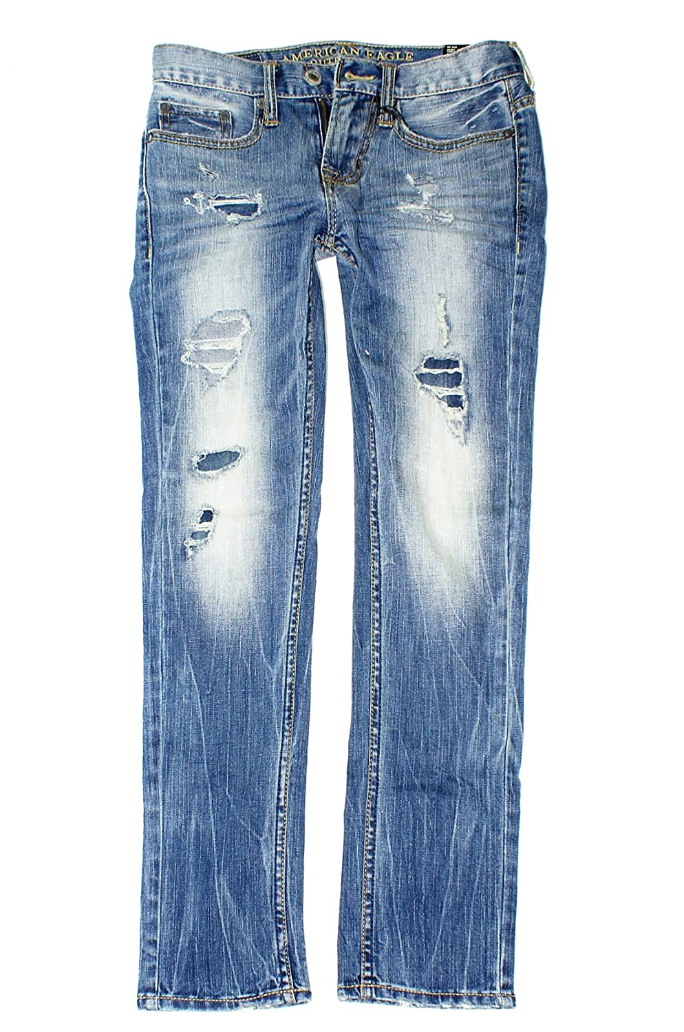NEW AMERICAN EAGLE SLIM JEANS MENS 32X34  DESTROYED LIGHT WASH FREE SHIP