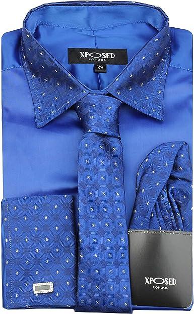 Camisa formal para hombre con cuello de plata con doble puño de satén, vestido de boda, fiesta, incluye mancuernillas de pañuelo de corbata: Amazon.es: Ropa y accesorios