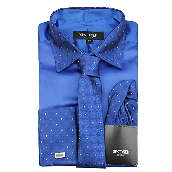 Xposed Camisa Formal para Hombre, Cuello de Borde Plateado, Doble ...