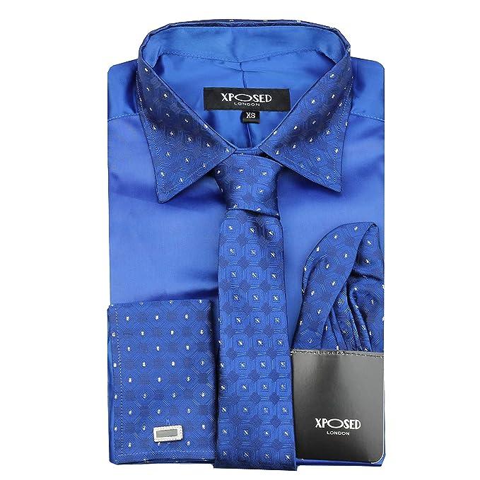 Xposed Camisa Formal para Hombre, Cuello de Borde Plateado ...
