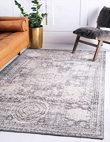 Unique Loom Bromley Collection Vintage Traditional Medallion Border Ivory Area Rug 4' 0 x 6' 0