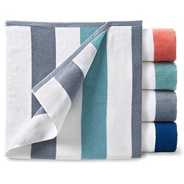 Oversize Plush Cabana Towel by Laguna Beach Textile Co   Stone and Sea Glass Green   1 Classic, Beach and Pool House Towel