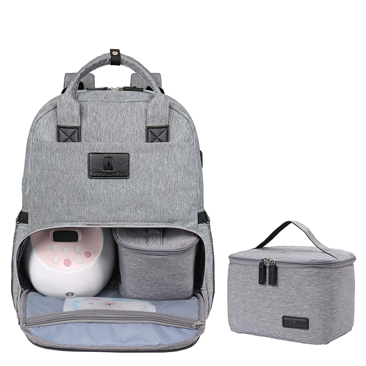 Diaper Bag Breast Pump Backpack - Multi-Function Cooler and Moistureproof Bag Double Layer for Mother Baby Bottle Breast Milk Pump Outdoor Working Backpack with Insulation Bag (Grey)