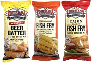 Louisiana Fish Fry Trio One Pack Each of Cajun,seasoned Beer Batter, and Seafood Breading