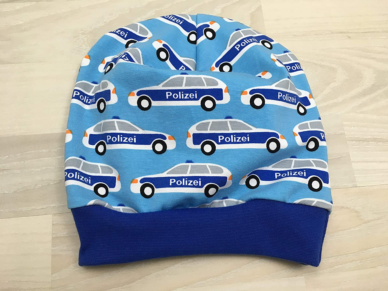 Beanie M/ütze mit Polizei auf hellblau Kopfumfang 50-55 cm
