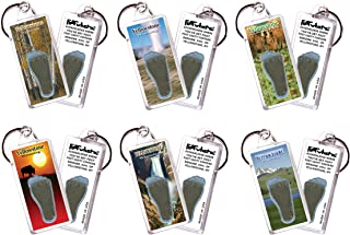 product image for Yellowstone, WY FootWhere Souvenir Keychains. 6 Piece Set. Made in USA