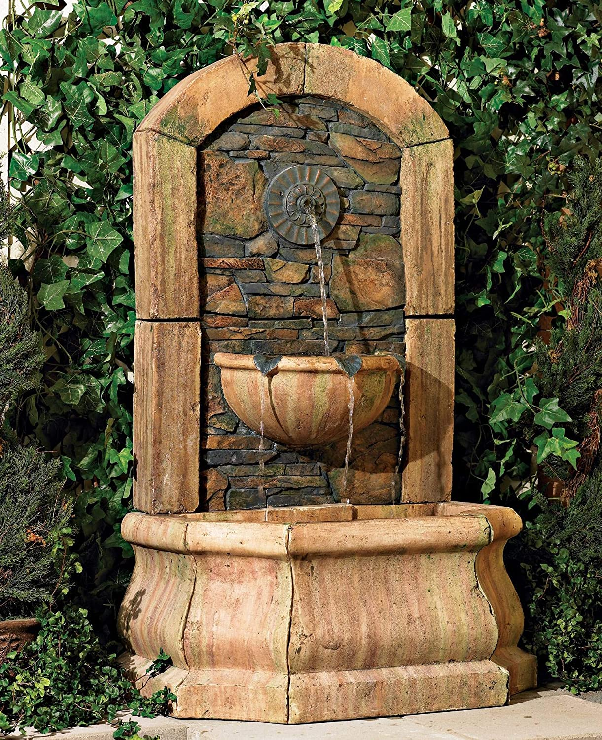 "Serena Rustic Outdoor Wall Water Fountain 50"" High Tiered Tuscan Village for Yard Garden Patio Deck Home - John Timberland"