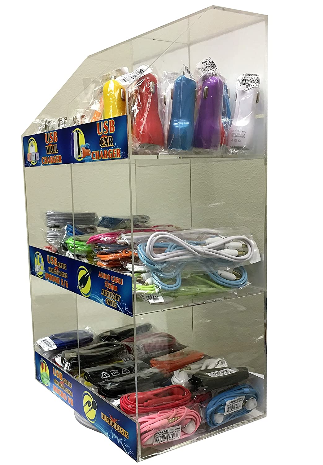 120 Pcs Wholesale Cell Phone Accessories Counter Top Display Rack with Universal USB Car Chargers, Home Adapters, Data Cables for Smartphones, Earphones & Auxiliary Cable (120 Pcs)
