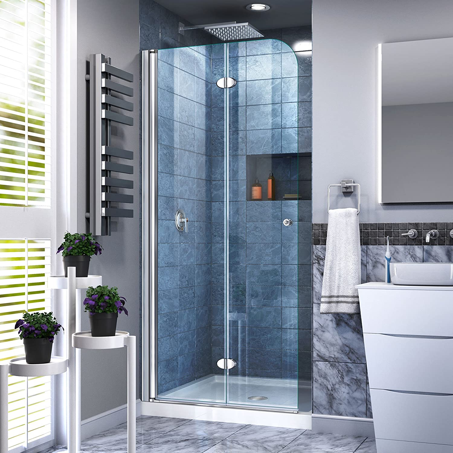 DreamLine Aqua Fold 29 1 2 in. W x 72 in. H Frameless Bi-Fold Shower Door in Chrome
