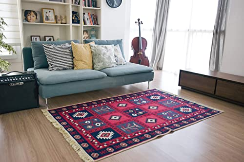 SETA RUGS, Karun Collection Area Rugs, Bedroom Rug, Living Room Rug, Decorative Kilim Rug, Double Sided Bedroom Rug, Cotton Washable Rug for Living Room, Bedroom, Kitchen, 4 x 6 ft