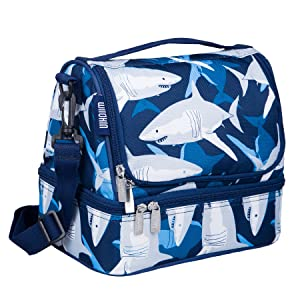 Wildkin Two Compartment Lunch Bag, Insulated, Moisture Resistant and Easy to Clean, Complete with a Microwave and Dishwasher-Safe Container, Ages 5+, Perfect for Kids & On-The-Go Parents, Sharks