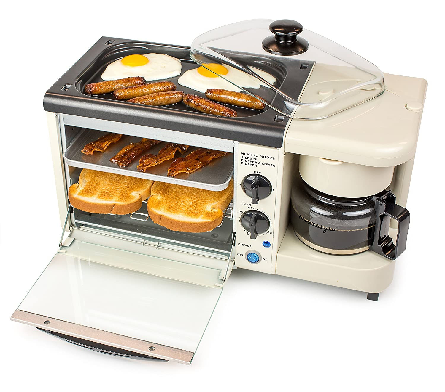 Nostalgia Bset100Bc 3-In-1 Toaster Ovens 2 Slice Bisque