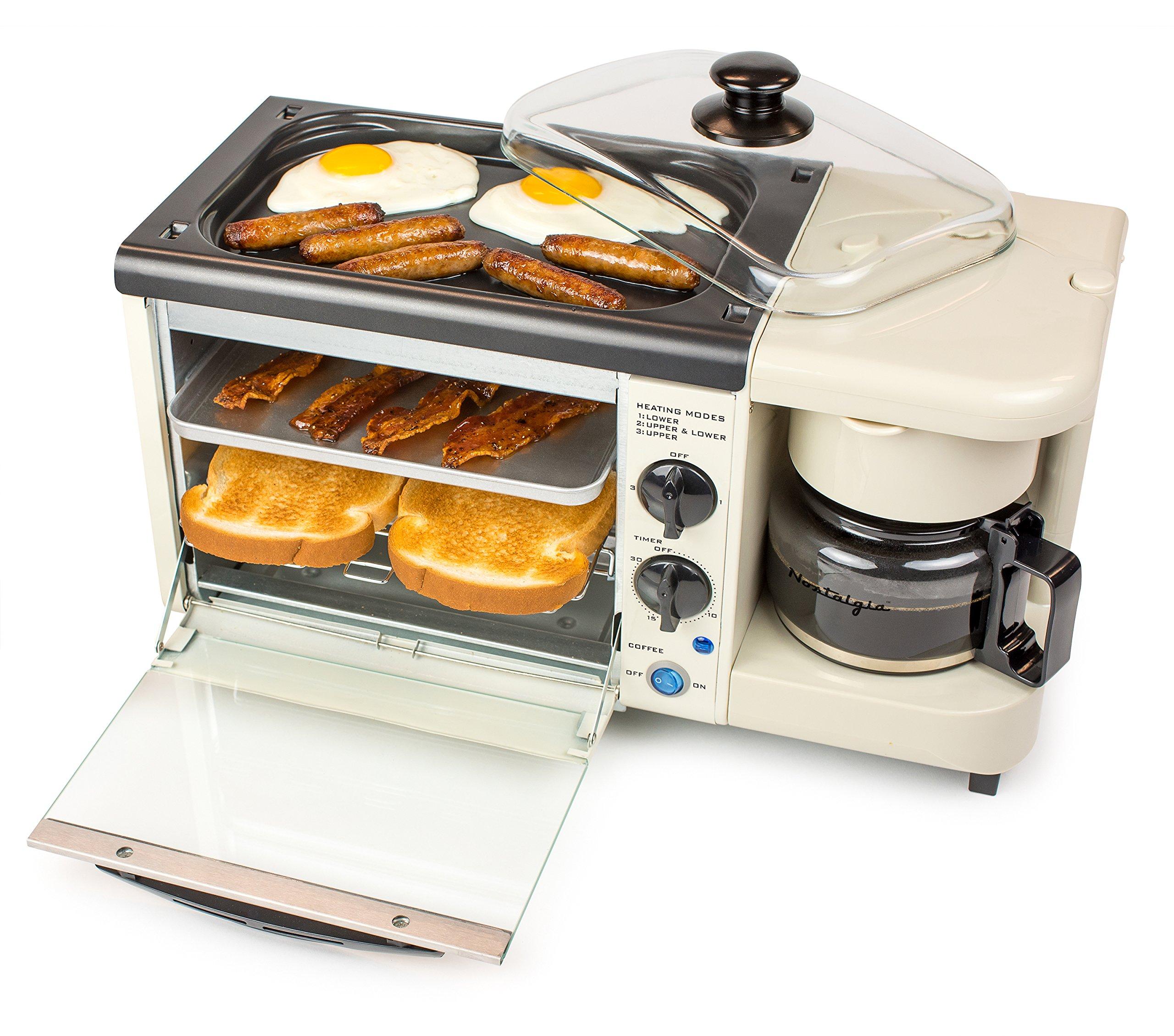 Nostalgia Bset100Bc 3-In-1 Toaster Ovens, 2 Slice, Bisque by NOSTALGIA