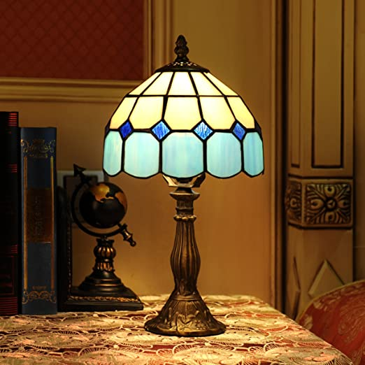 Gweat 8 inch mediterranean tiffany style amber table lamp bedside bedroom lamp4 colors