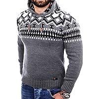 Reslad Norweger Pullover Herren Winterpullover Kapuzenpullover   Strickpullover für Männer RS-3013
