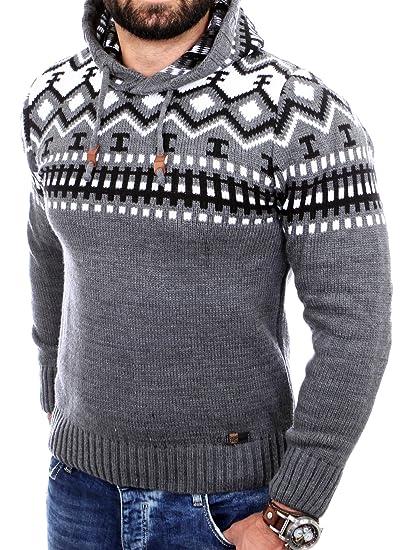 Reslad Norweger Pullover Herren Winterpullover Kapuzenpullover   Strickpullover für Männer RS 3013