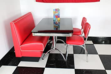 American Diner Möbel 50s Authentic alle rot Booth & Stühle schwarz ...