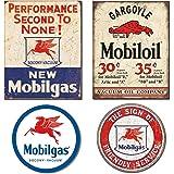 Mobilgas Tin Sign For Garage Bundle - Mobilgas Second To None, Mobil Gargoyle, Mobilgas Pegasas and Mobil Friendly Service