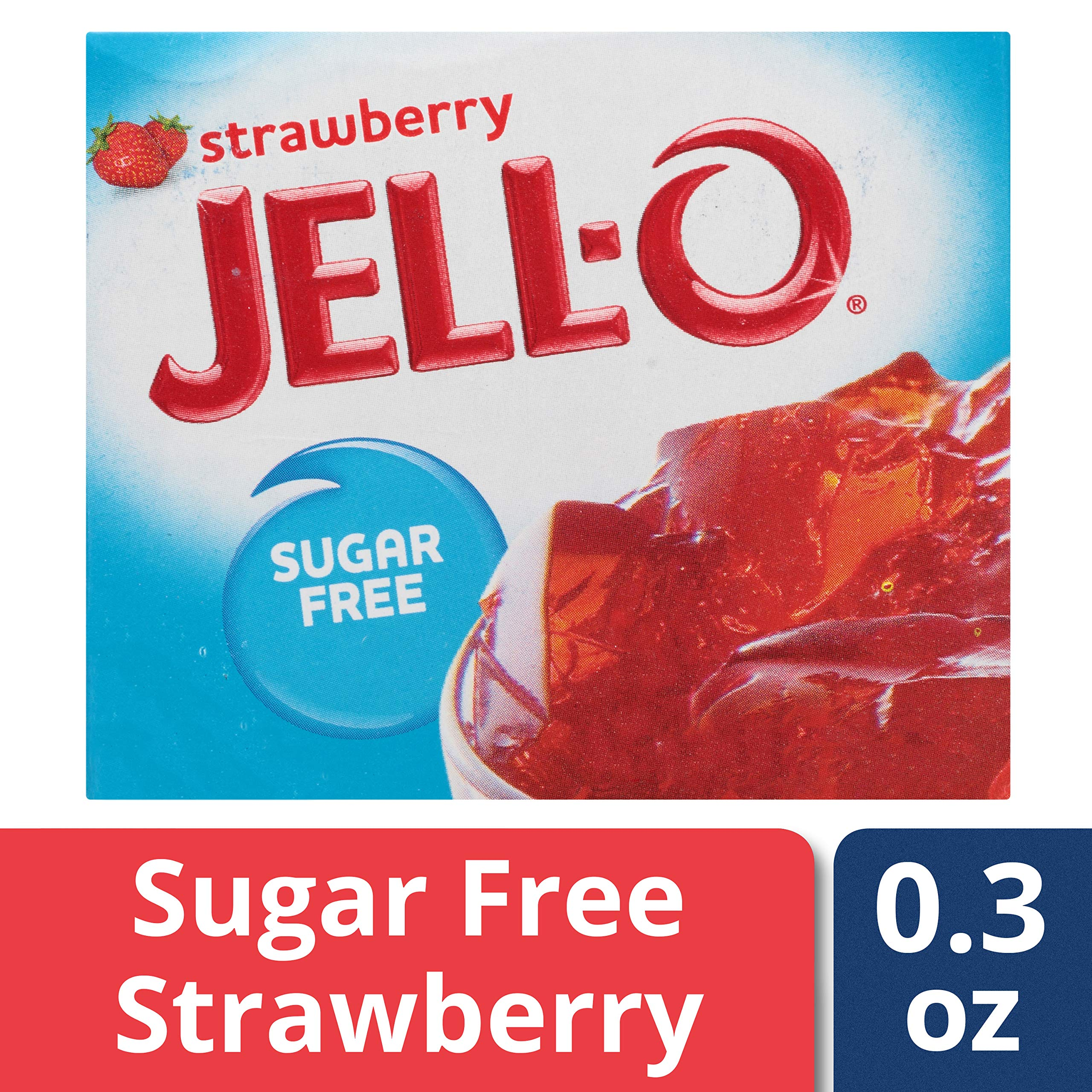 Jell-O Sugar-Free Strawberry Gelatin Dessert Mix, 0.3 oz Bag