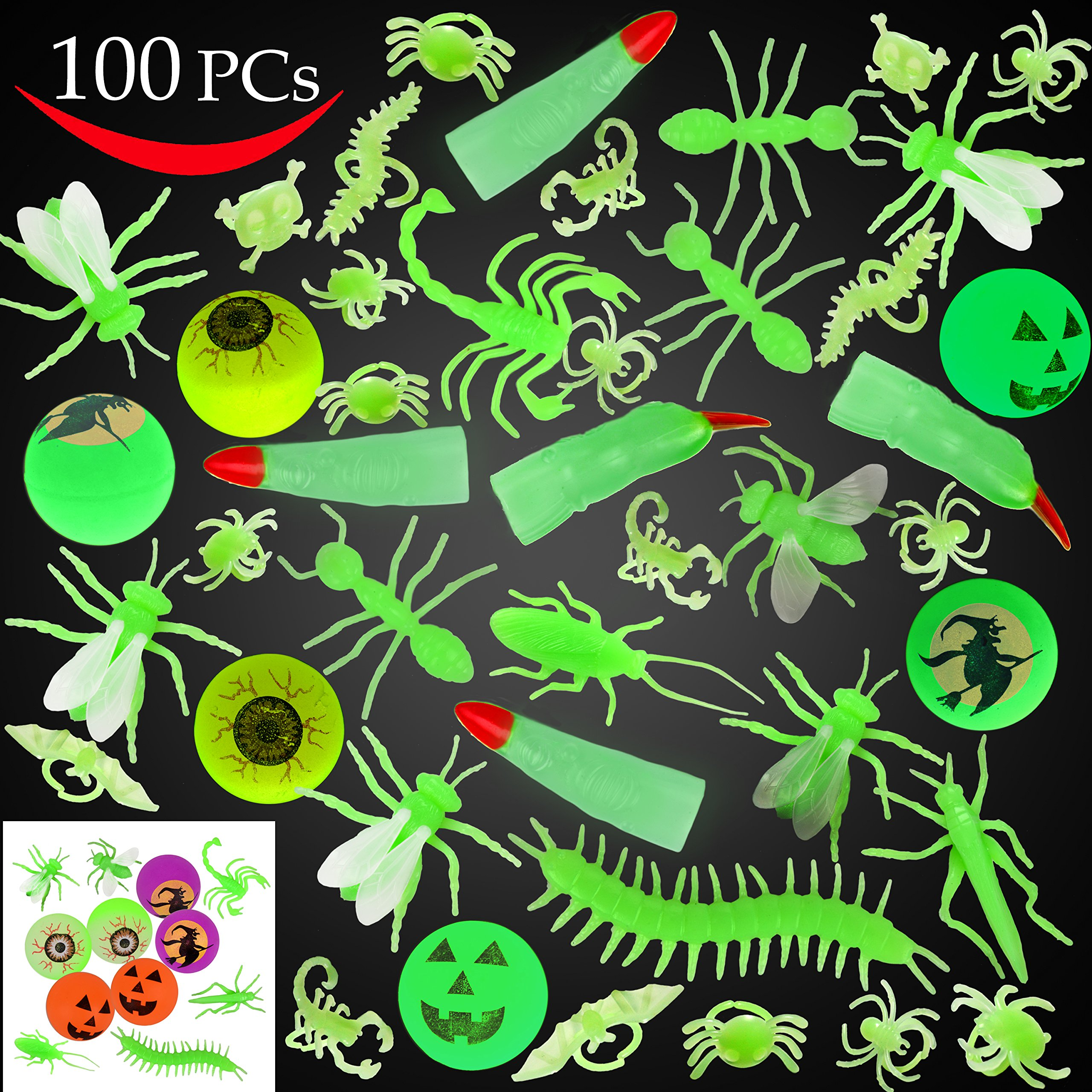 JOYIN 100 Pieces Halloween Glow in The Dark Bugs and Toys Glow Bugs, Plastic Bugs, Glow Bug Rings , Glow Bouncy Balls and Witch Fingers for Halloween Party Favors and Decorations