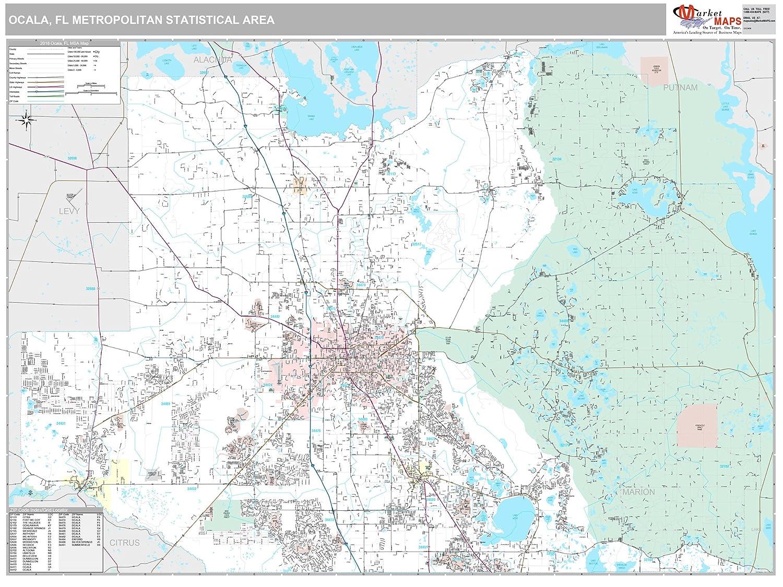 Map Of Ocala Florida.Amazon Com Marketmaps Ocala Fl Metro Area Wall Map 2018 Zip