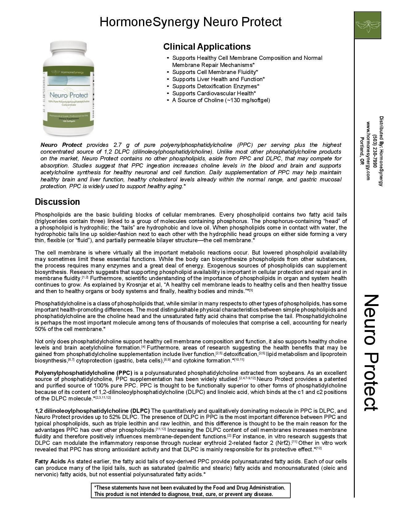 Neuro Protect 100% Pure Polyenyl phosphatidylcholine Concentrate 900mg, 100 ea Softgels (phosphatidyl choline) | by HormoneSynergy (Image #2)
