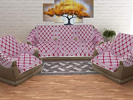 Jaipurfabric Superfine Block Print 5 Seater Sofa Cover Set For Living Room 10 Pes Maroon Amazon In Home Kitchen