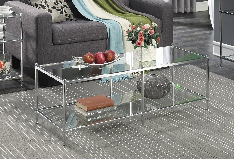 Amazon.com: Moderna mesa de café de cristal transparente ...