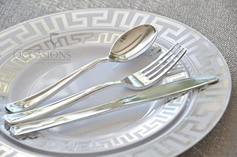 OCCASIONS- MILANO COLLECTION- Wedding Disposable Plastic Plates u0026 silverware (x 40 guests & Amazon.com: OCCASIONS- MILANO COLLECTION- Wedding Disposable Plastic ...
