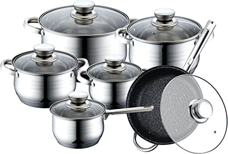Set batteria Royalty Line 12 pezzi pentole padelle acciaio inox cucina padella