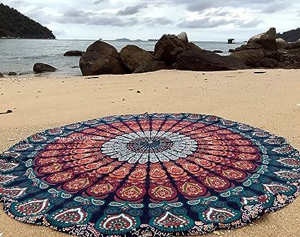 raajsee Ronda Toalla de Playa, Boho Manta Hippie Tapiz algodón Mantel Meditación Yoga Mat Alfombra
