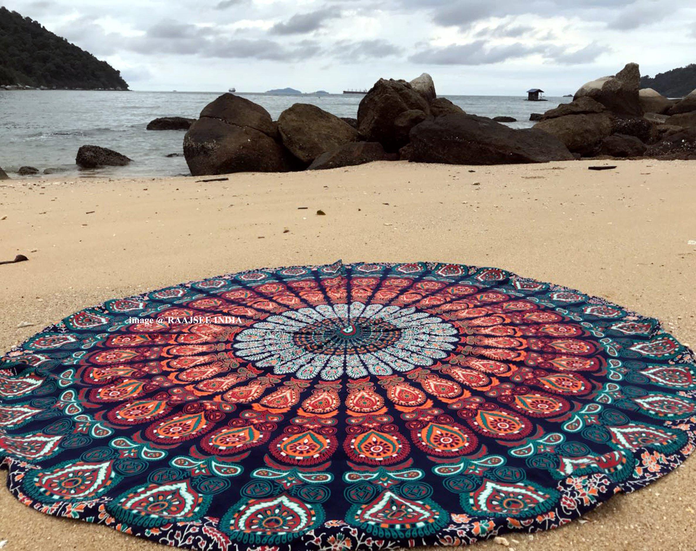 raajsee Round Beach Tapestry hippie/Boho Mandala Beach Towel Blanket Indian Cotton Bohemian Round Table cloth Mandala Decor/Yoga Mat Meditation Picnic Rugs 75 inch Circle (Blue Orange)