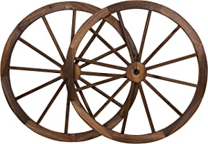 "Trademark Innovations Decorative Vintage Wood Garden Wagon Wheel with Steel Rim-31.5"" Diameter (Set of 2)"