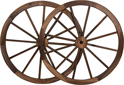 Trademark Innovations Decorative Vintage Wood Garden Wagon Wheel With Steel Rim 31 5 Diameter Set Of 2