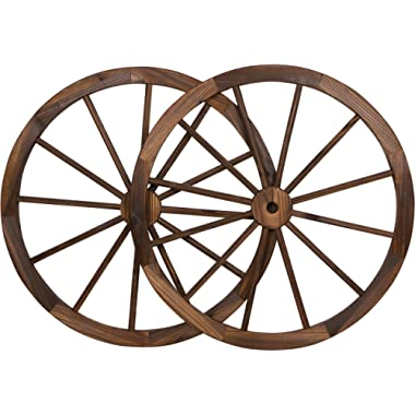 Trademark Innovations Decorative Vintage Wood Garden Wagon Wheel with Steel Rim-30 Diameter (Set of 2)