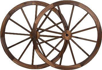Decorative Vintage Wood Garden Wagon Wheel With Steel Rim   30u0026quot;  Diameter   By Trademark