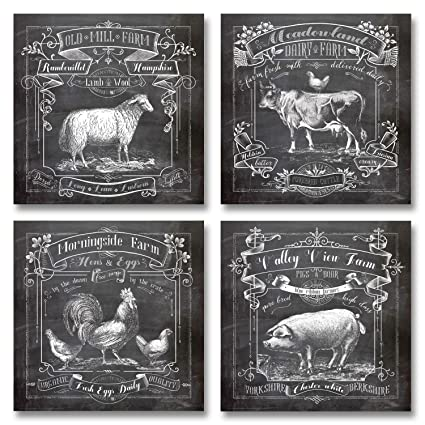 Bon Chalkboard Style Kitchen Art; Dairy Farm, Old Mill Farm, Mornighside Farm,
