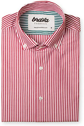Brava Fabrics | Camisa Hombre Manga Larga Estampada | Camisa Roja para Hombre | Camisa Casual Regular Fit | 100% Algodón | Modelo Red Kodak Stripes Essential | Talla XL: Amazon.es: Ropa y accesorios