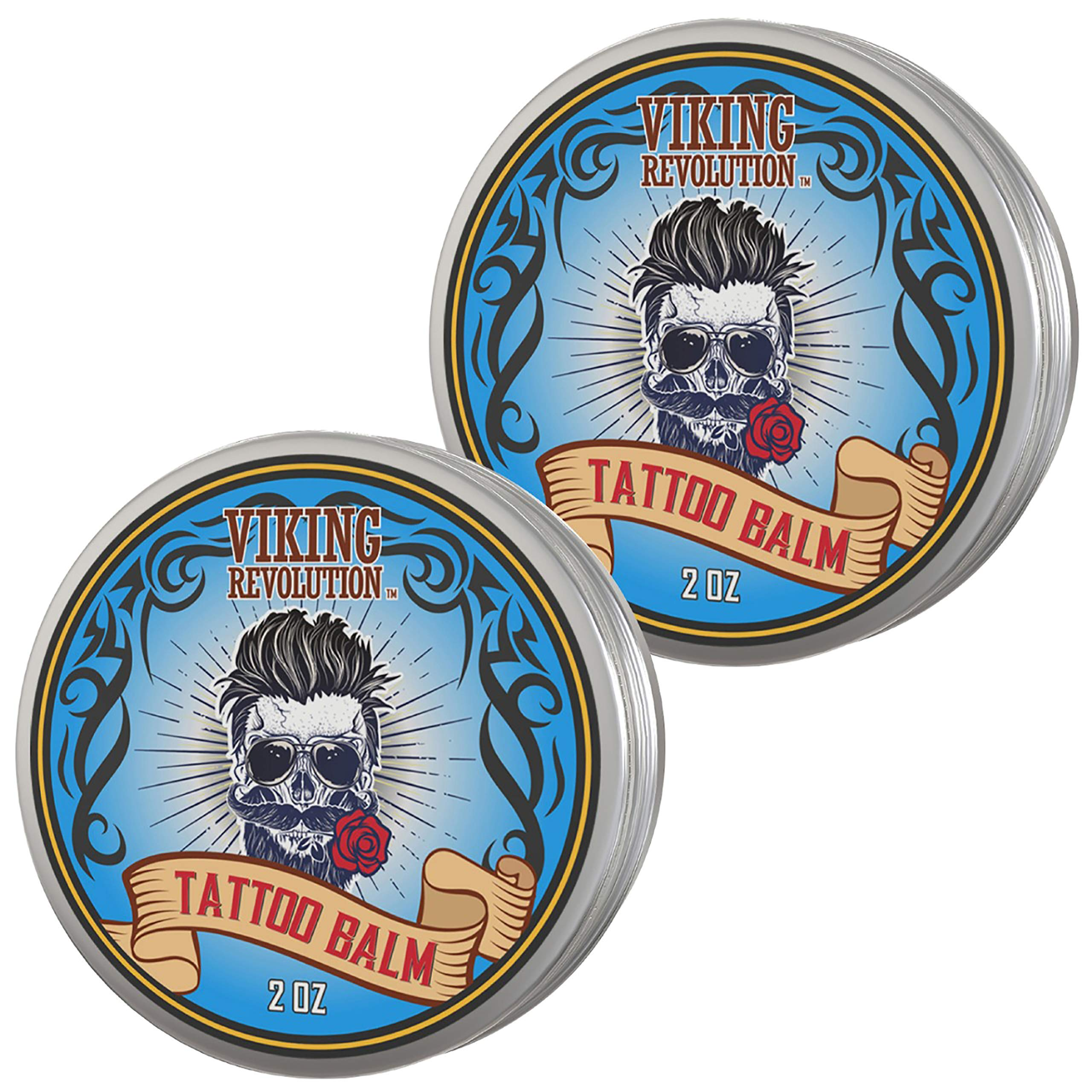 Viking Revolution Tattoo Care Balm for Before, During & Post Tattoo - Safe, Natural Tattoo Aftercare Cream - Moisturizing Lotion to Promote Skin Healing - Tattoo Brightening Treatment (2 Pack) by Viking Revolution