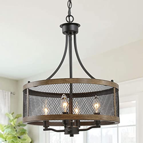 LALUZ Industrial Drum Chandeliers Farmhouse Pendant Hanging Vintage Lighting Fixture for Dining Room, 16 Width, Oil Black Wood Finish