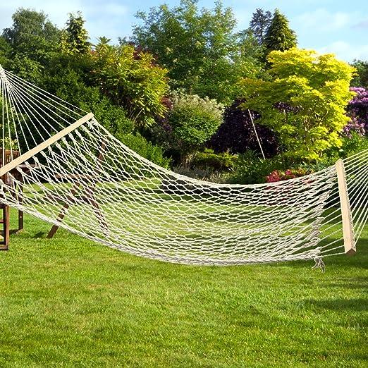 Doble Amplia Árbol de madera para colgar hamaca y # xFF0 C; barras transversales de algodón cuerda hamaca para jardín Yark: Amazon.es: Jardín